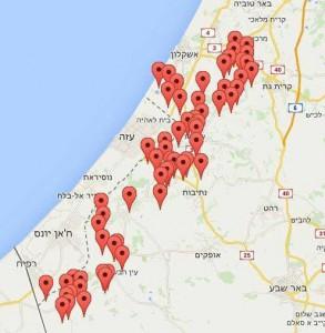Karta över södra Israel som visar var raketlarmet ljöd strax innan klockan 22:00 på onsdagskvällen.