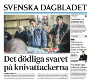 Svenska Dagbladets framsida den 17 januari.